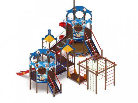 Детский игровой комплекс «Морской» ДИК 2.17.06 (винтовой скат) Н=2000   H=1200