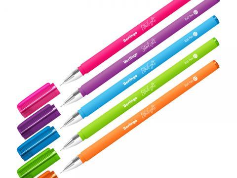 Ручка шариковая Berlingo Starlight, синяя, 0,7мм, игольчатый стержень, прорезиненный корпус ассорти
